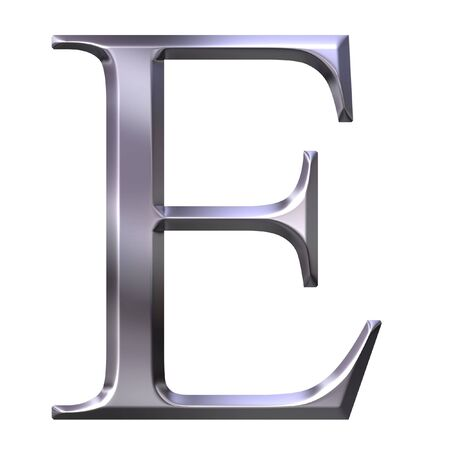 alphabet greek symbols: 3d silver Greek letter Epsilon