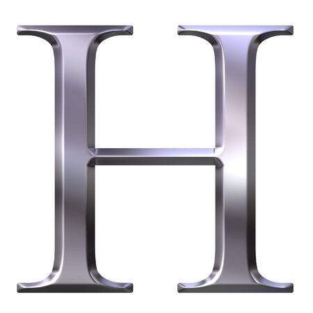 3d silver Greek letter Eta