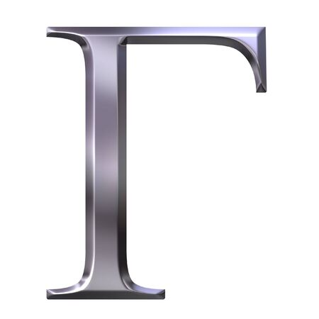 gamma: 3d silver Greek letter Gamma  Stock Photo