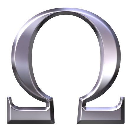 3d silver Greek letter Omega  Stock Photo