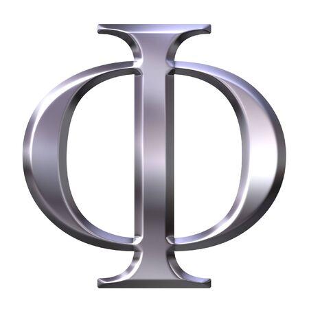 3d silver Greek letter Phi  photo