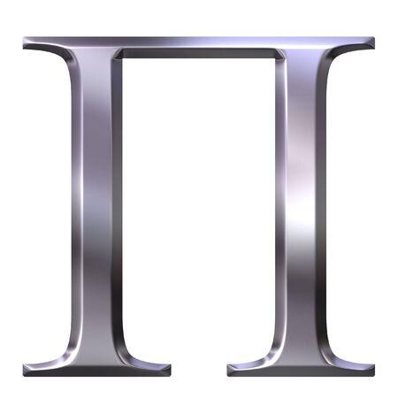 3d silver Greek letter Pi  photo