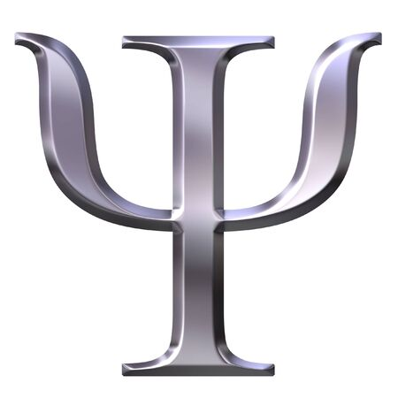 3d silver Greek letter Psi  Stock Photo