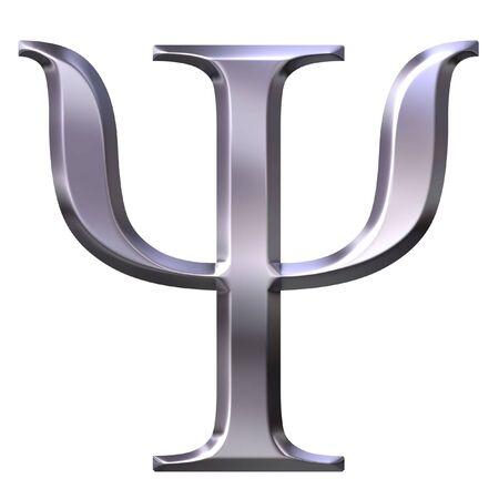 shinning: 3d silver Greek letter Psi  Stock Photo