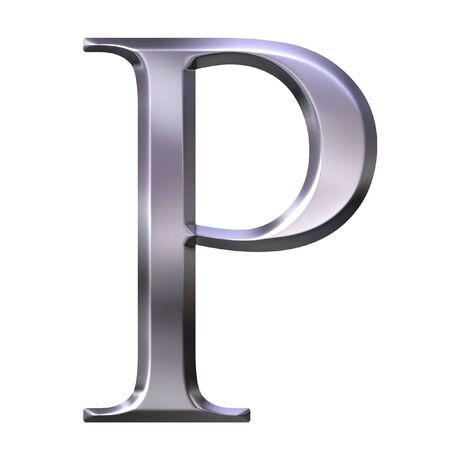3d silver Greek letter Rho  photo