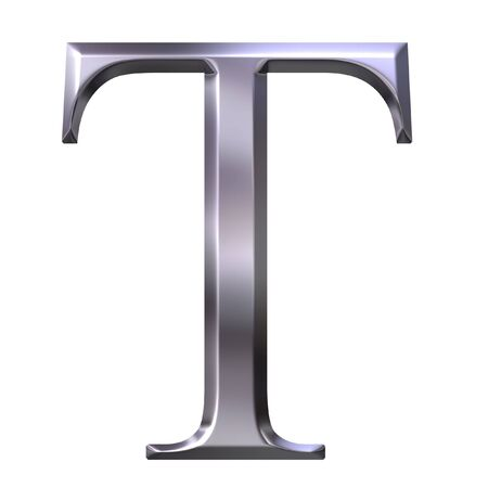 3d silver Greek letter Tau  photo
