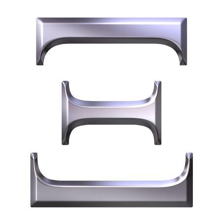 3d silver Greek letter Xi  photo