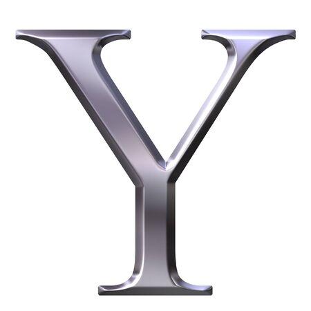 3d silver Greek letter Ypsilon  photo