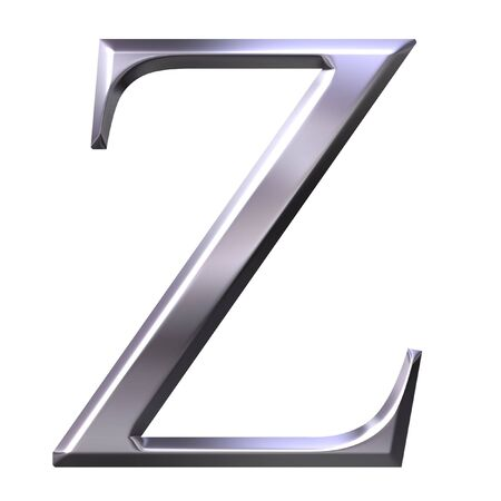 3d silver Greek letter Zeta  photo
