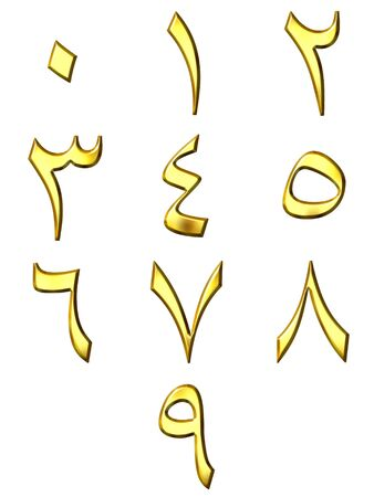 3d golden Arabic numbers photo