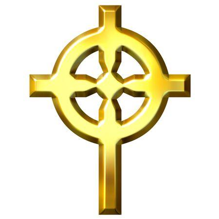 3d golden celtic cross  photo
