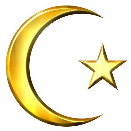 half moon: 3d golden islamic symbol