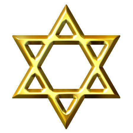 3d golden star of david  photo