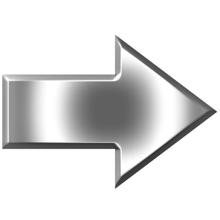 forward icon: 3d silver arrow  Stock Photo