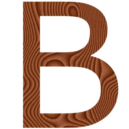 Wooden letter B isolated in white photo