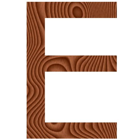 Wooden letter E isolated in white photo