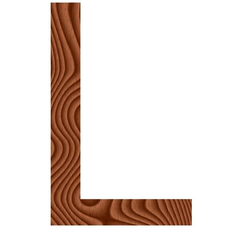Wooden Letter L isolated in white photo
