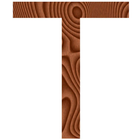 Wooden letter T isolated in white  photo
