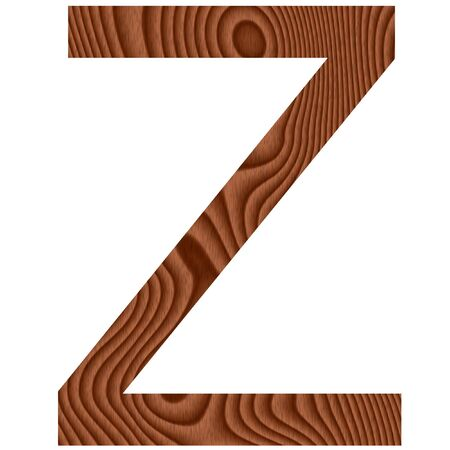 Wooden letter Z isolated in white  photo