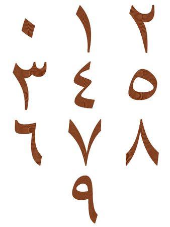 arabic number: Wooden arab numbers