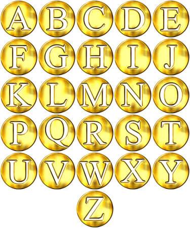 framed: 3d golden framed alphabet