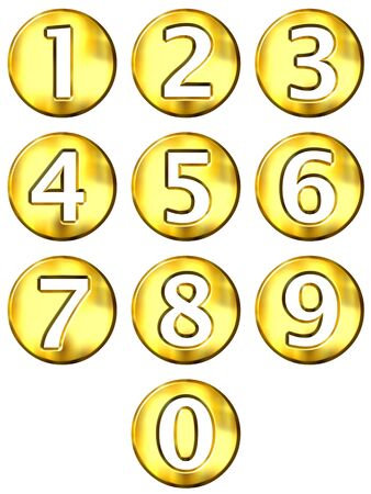 number button: 3d golden framed numbers