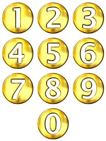 numero uno: 3d oro enmarcadas n�meros