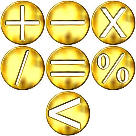 frame less: 3d golden math symbols