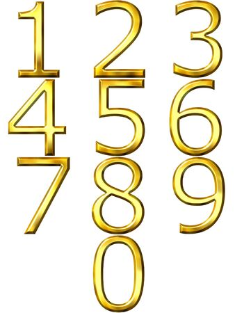 digit 3: 3d golden numbers  Stock Photo