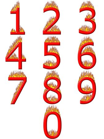 5 7: 3d numbers on fire