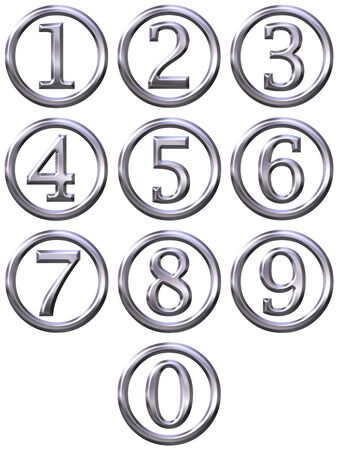 number button: 3d silver framed numbers