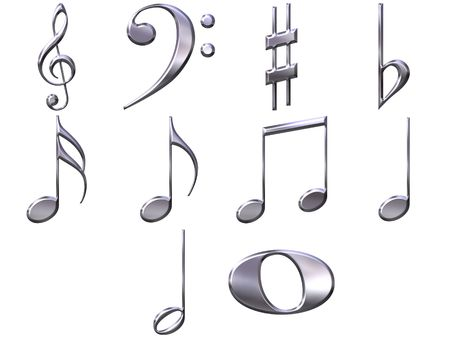 3d silver music notes  photo