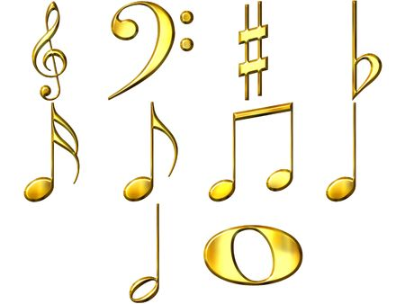 sixteenth note: 3d golden music notes  Stock Photo