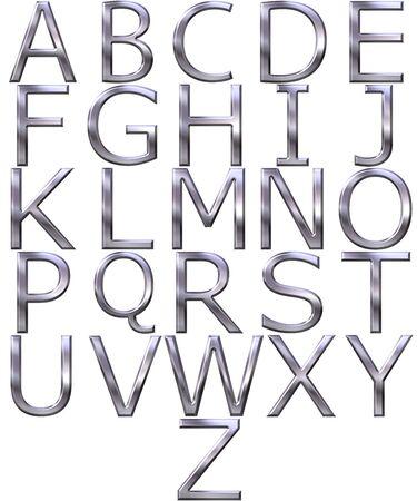 3d silver alphabet  Stock Photo
