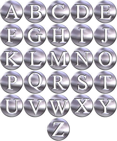3d silver framed alphabet  Stock Photo - 4804778
