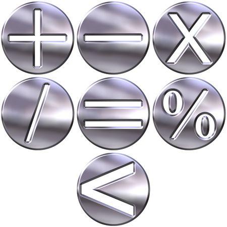 3d silver math symbols  Stock Photo