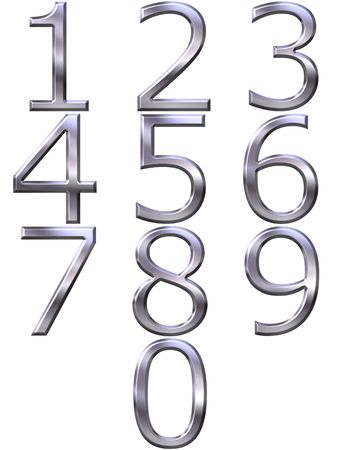 clip art numbers: 3d silver numbers