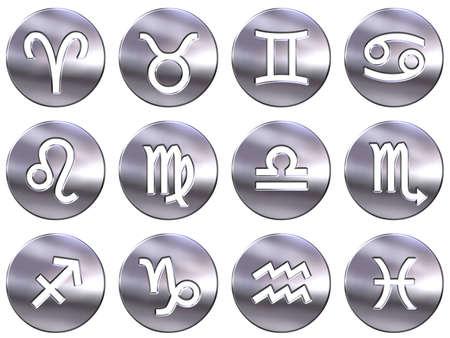 3d silver zodiac signs  photo