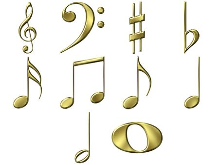 yellow note: 3d golden music notes  Stock Photo