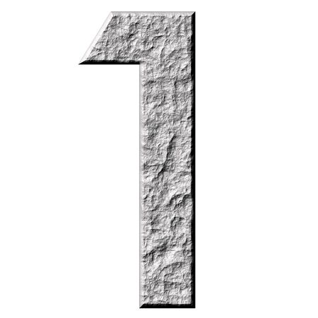 numerical: 3d stone number one  Stock Photo