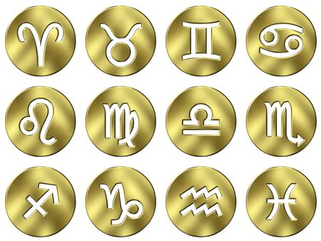 3d golden zodiac signs  photo