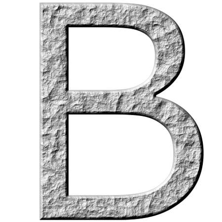 carved letters: 3d stone letter B isolated in white Stock Photo