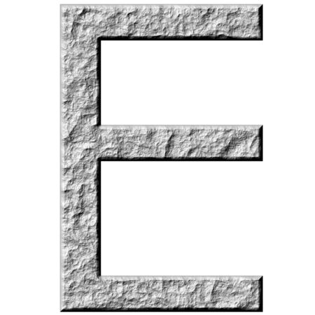 carved letters: 3d stone letter E isolated in white