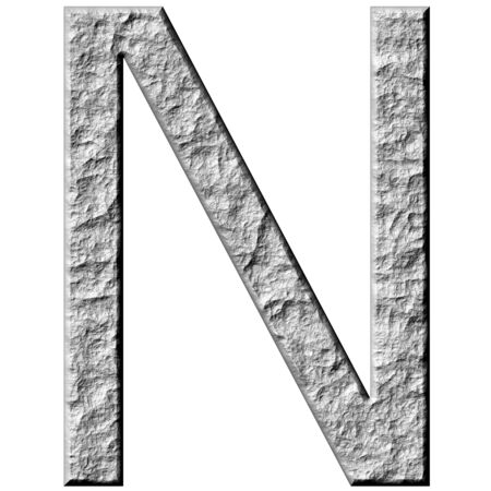 carved letters: 3d stone letter N isolated in white