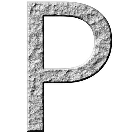 carved letters: 3d stone letter P isolated in white