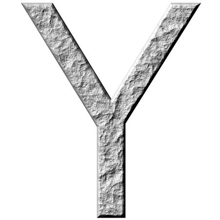 carved letters: 3d stone letter Y isolated in white