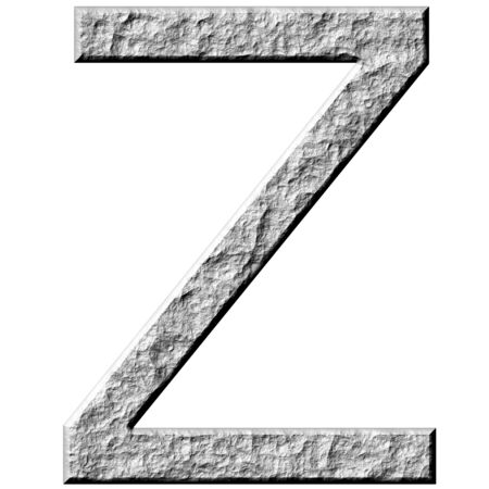 carved letters: 3d stone letter Z isolated in white
