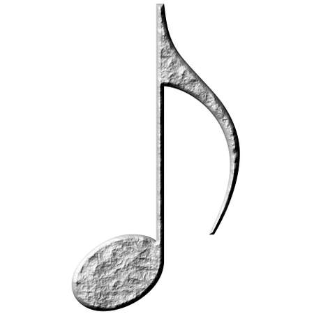 eighth: 3d stone eighth note  Stock Photo