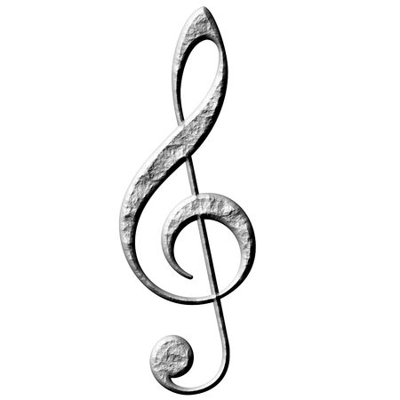 3d stone treble clef  photo