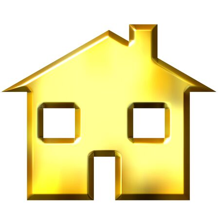 shinning: 3d golden house  Stock Photo